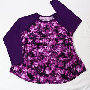 (3X) Tek Gear Raglan Floral Purple Shirt